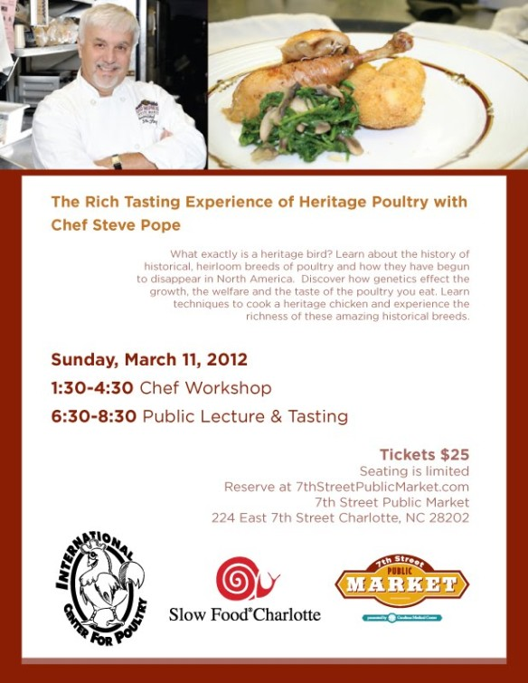Heritage Poultry Event at 7th Street Public Market March 11 6:30-8:30